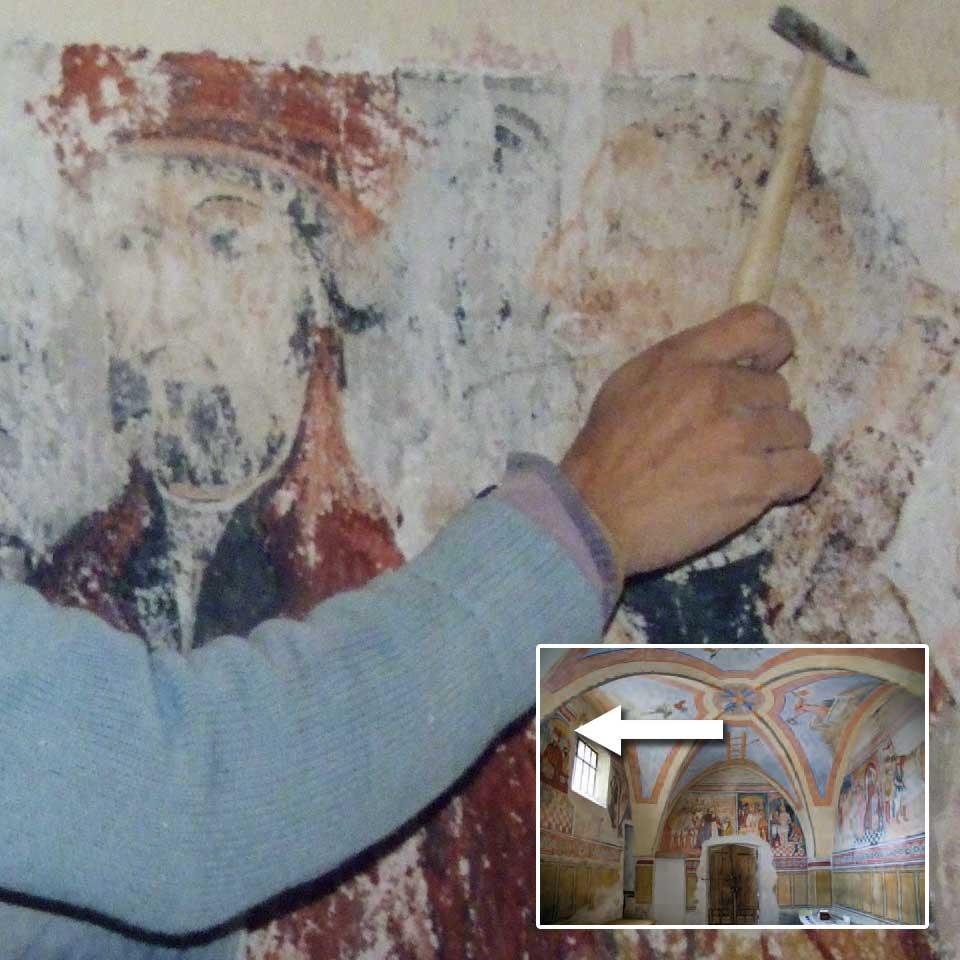 restauro affreschi con dettaglio e vista generale